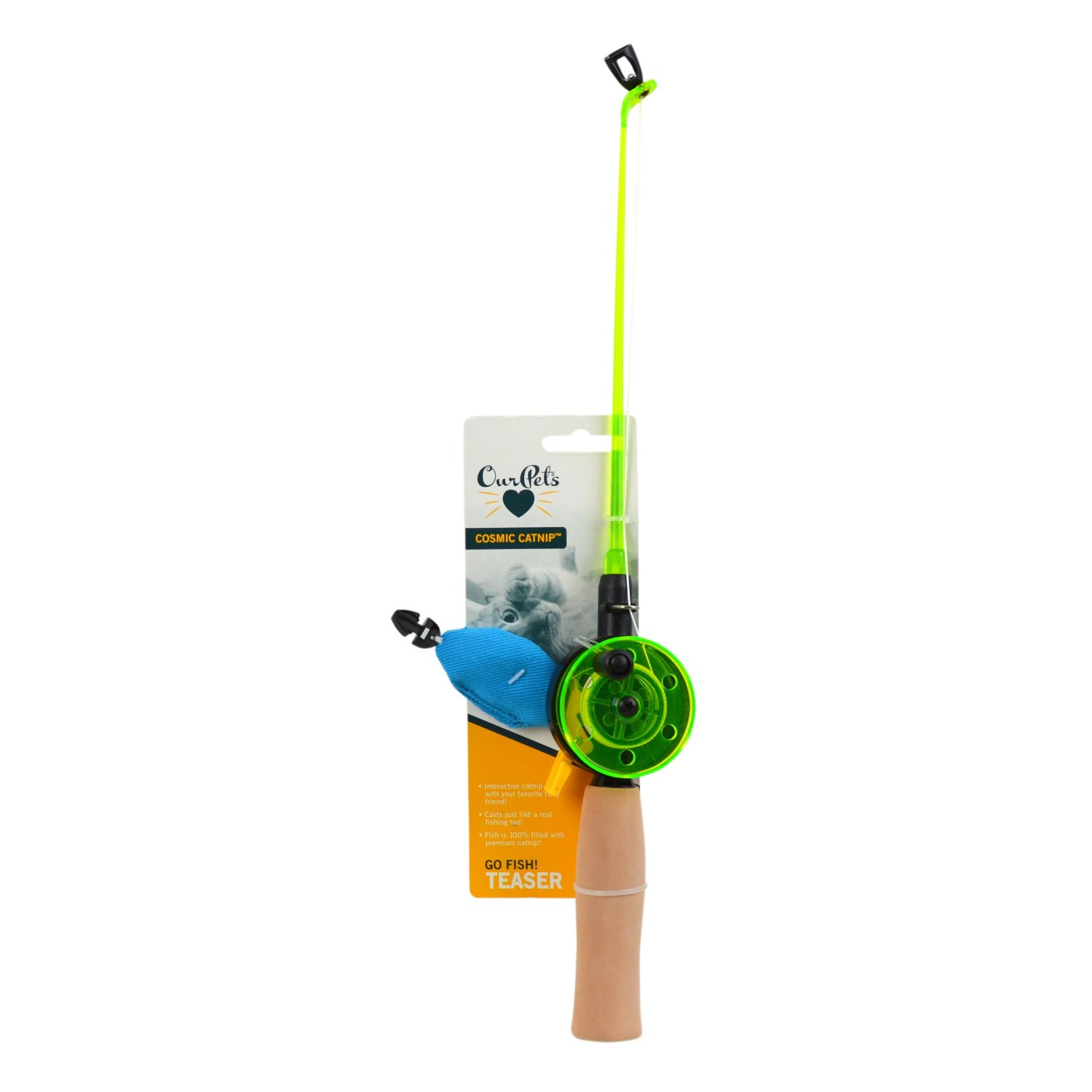 Ourpets fishing rod with fish interactive cat premium for Cat fishing pole
