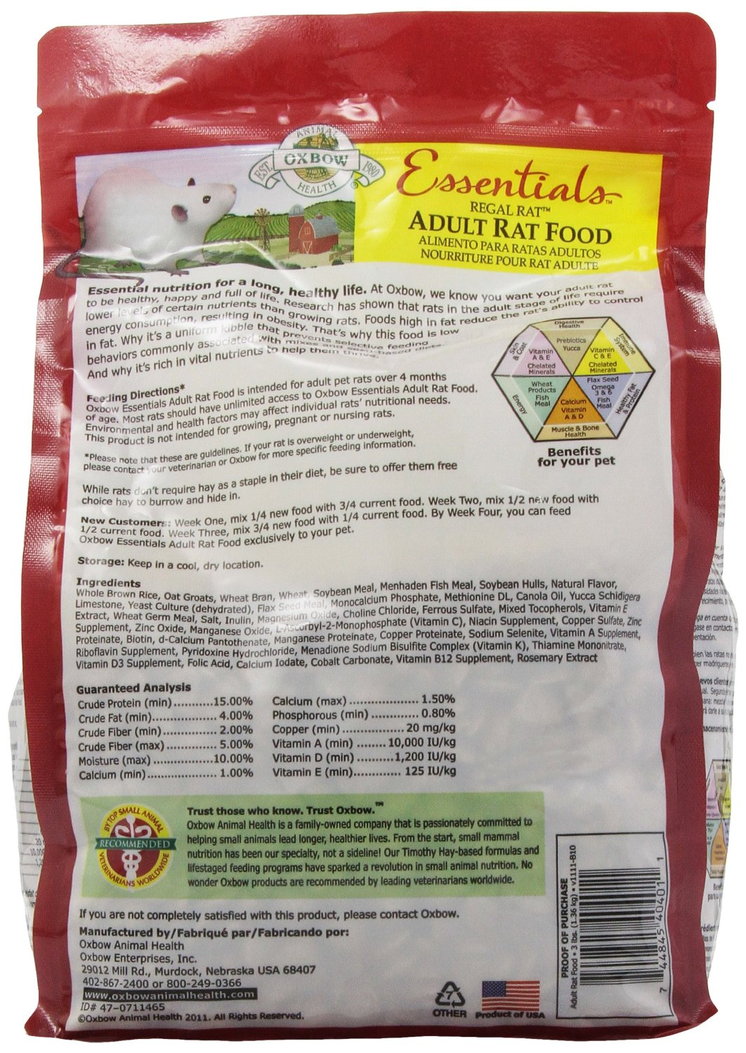 Details about Oxbow REGAL RAT Adult Food Essential Fortified Nutrient  Low-Fat Kibble 3 Pound