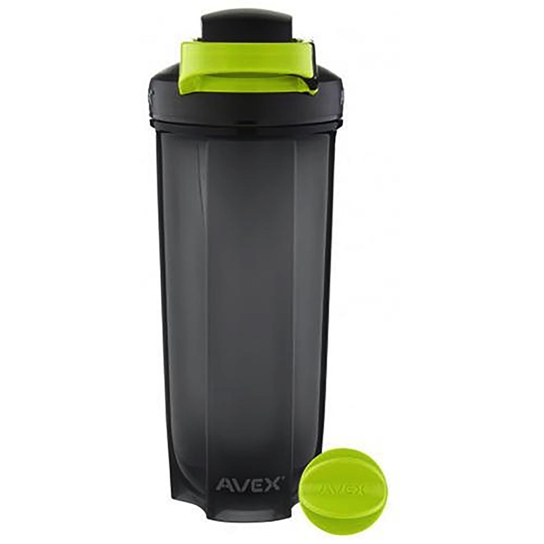 Protein Shaker Keyring: Avex MixFit Shaker 28oz Black W/Electric Green Carabiner