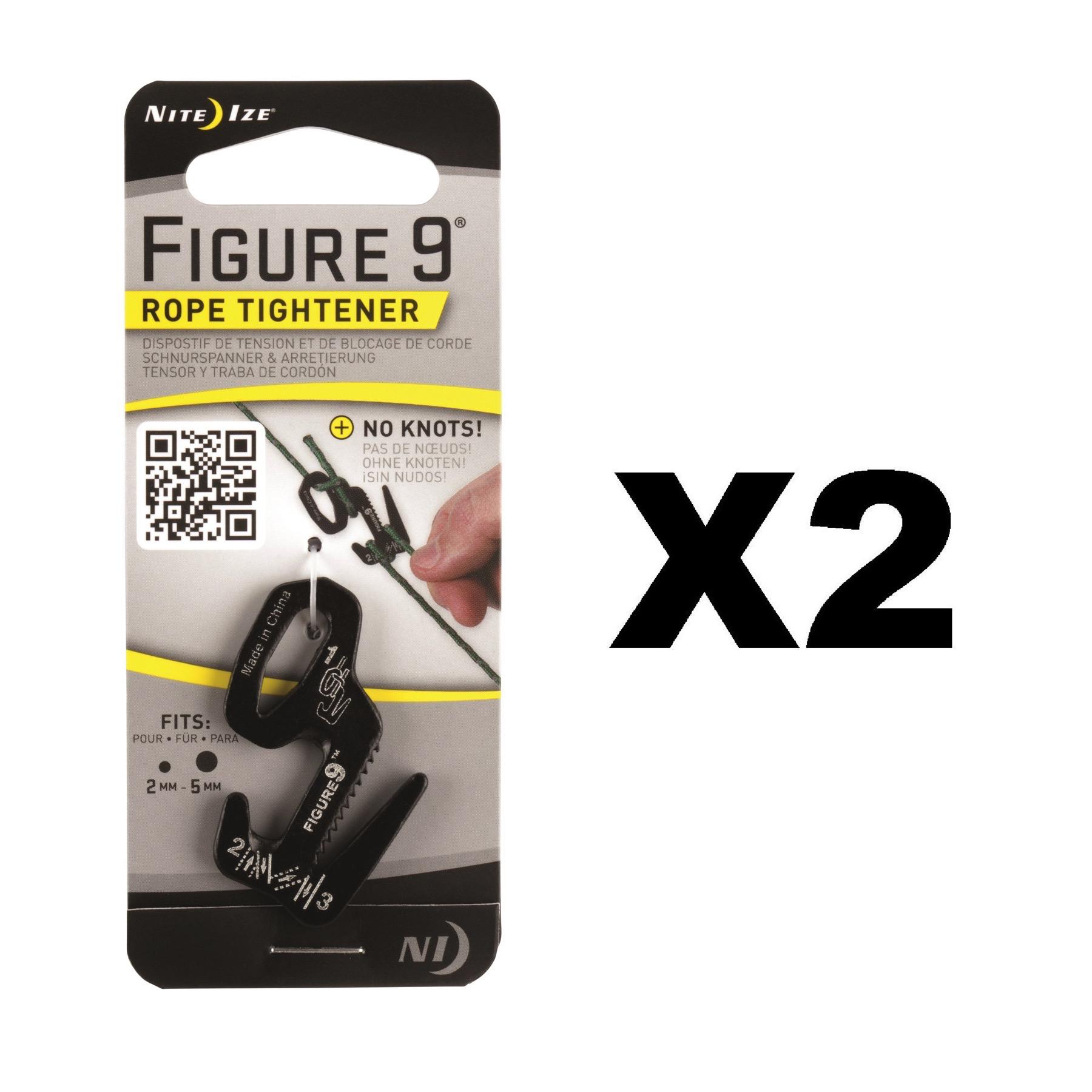 Nite Ize Figure 9 Rope Tightener Small Black Aluminum Tie Down ...