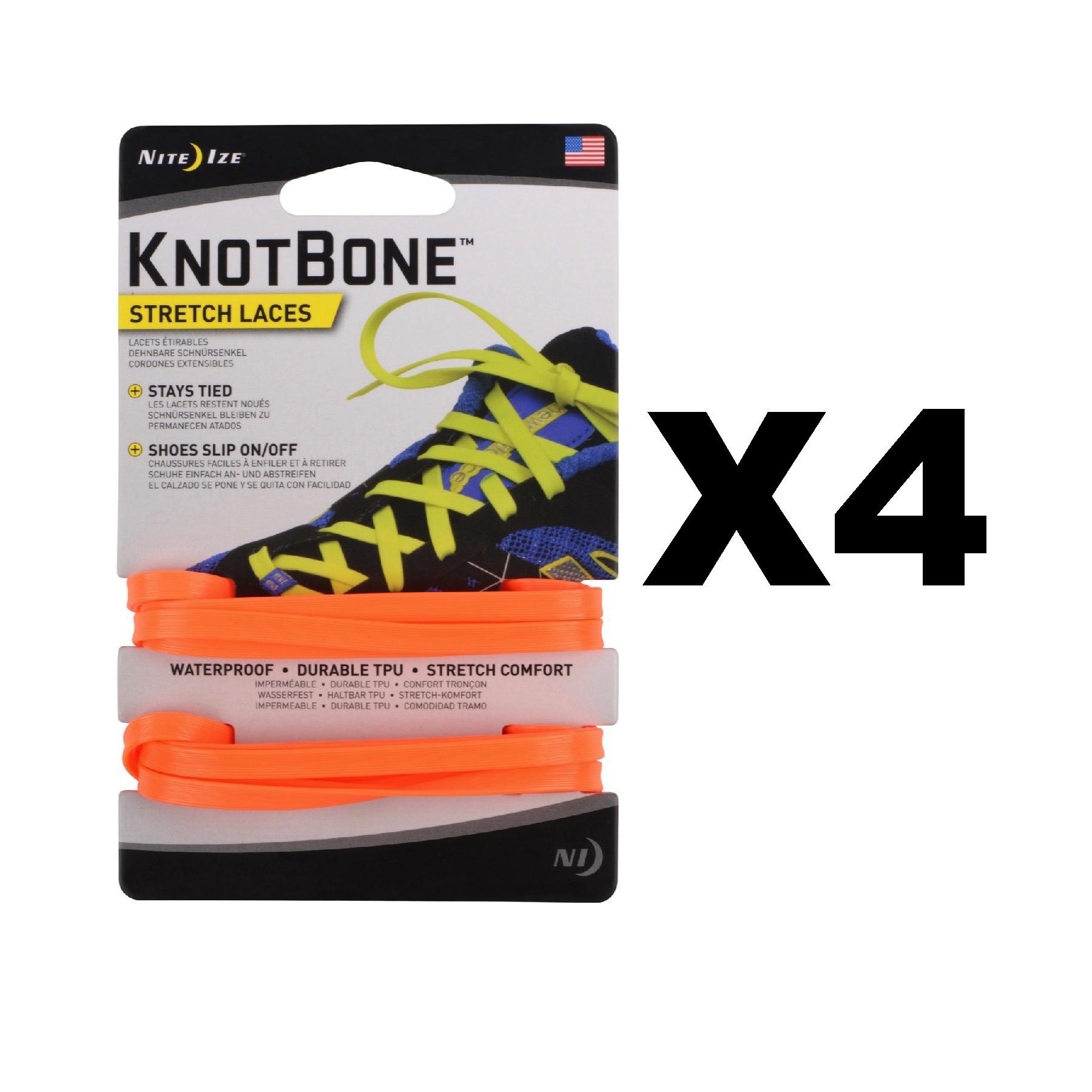 Nite-Ize-KnotBone-Stretch-Laces-Bright-Orange-Flat-Shoe-Laces-54-034-4-Pack