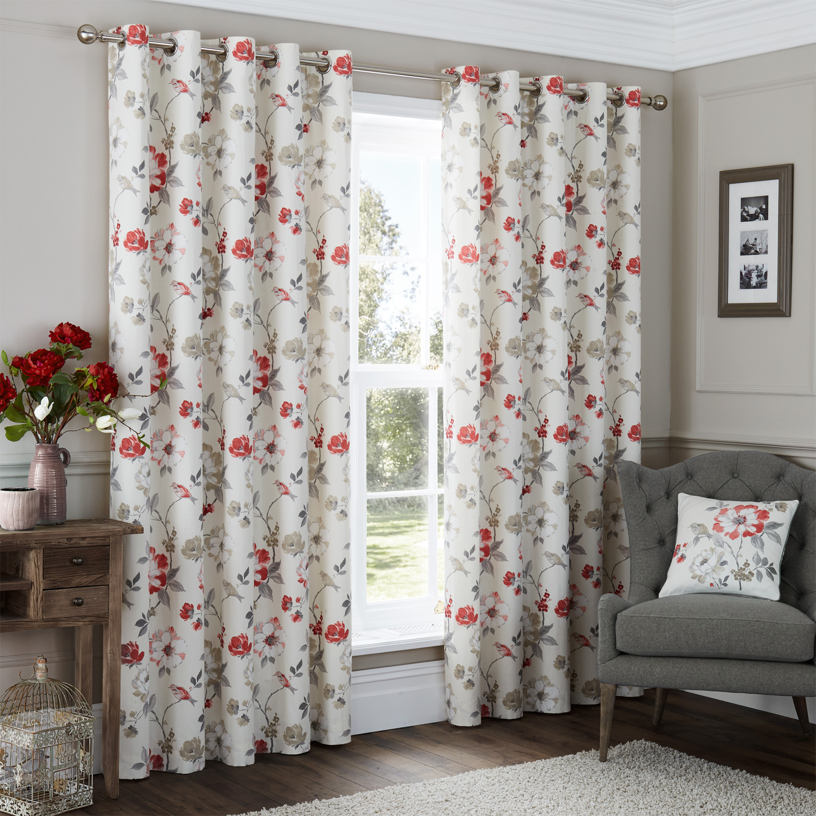 Vintage Floral Patterned Extra Long Curtains