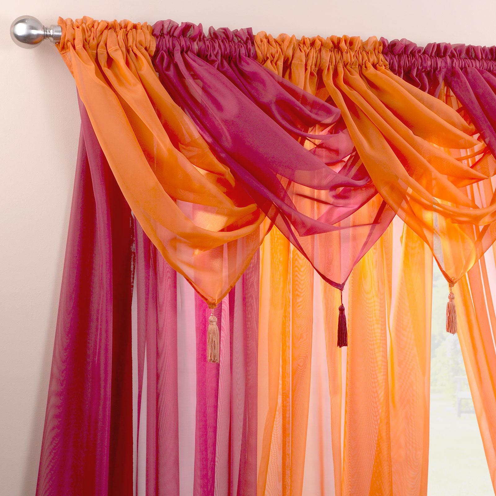 Plain Tasselled Voile Swag - Net Valance Pelmet For Curtains ...