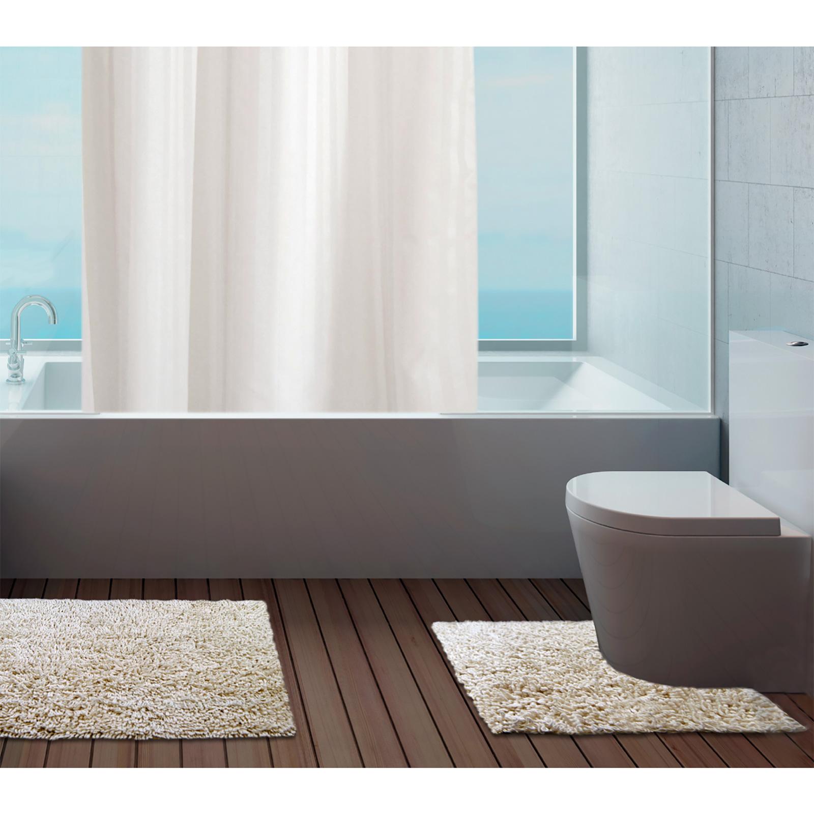 100% Cotton Bathroom Mats Set Washable Bath & Pedestal Mat Sets