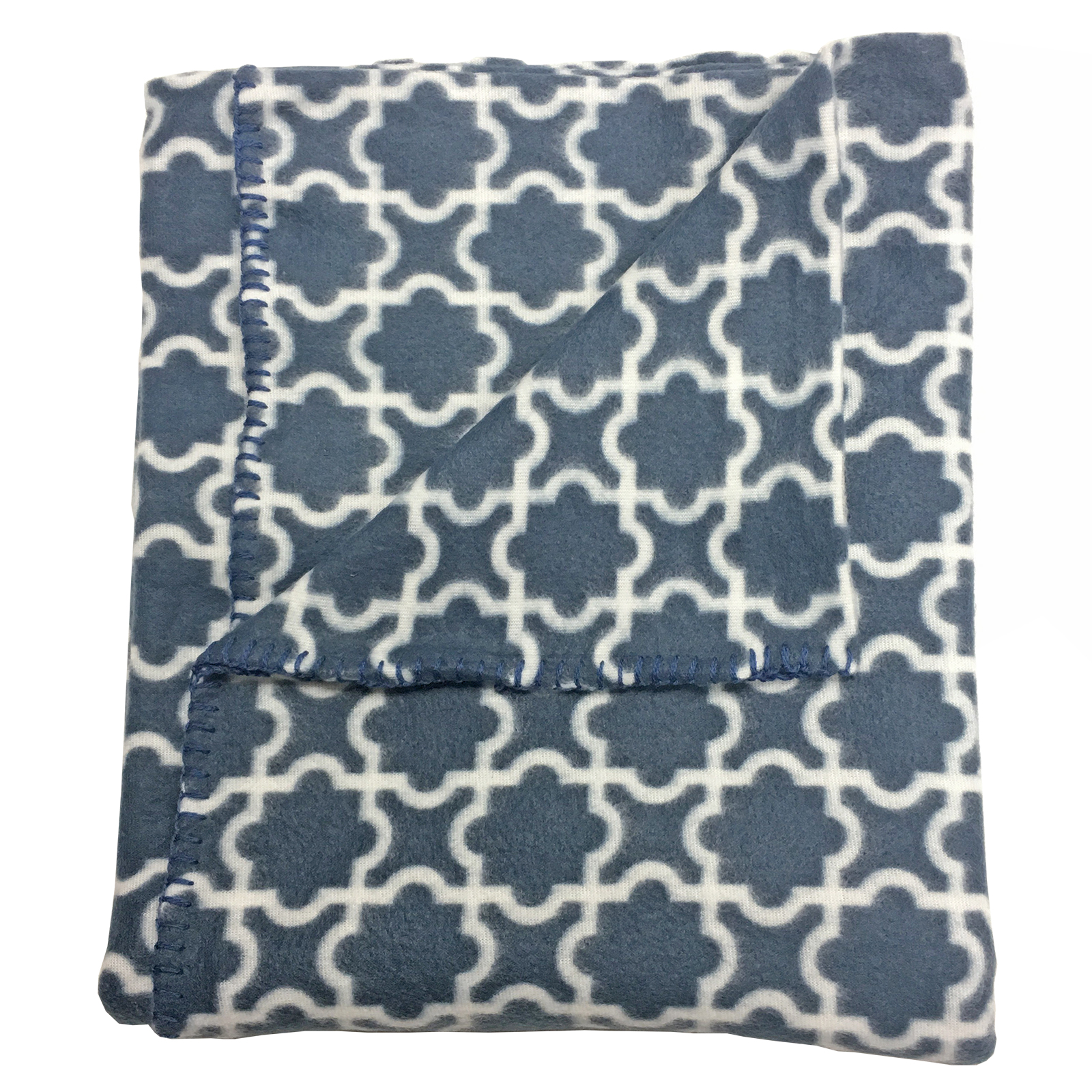 soft  modern throw in fleece fabric with simple moroccan pattern  - picture  of