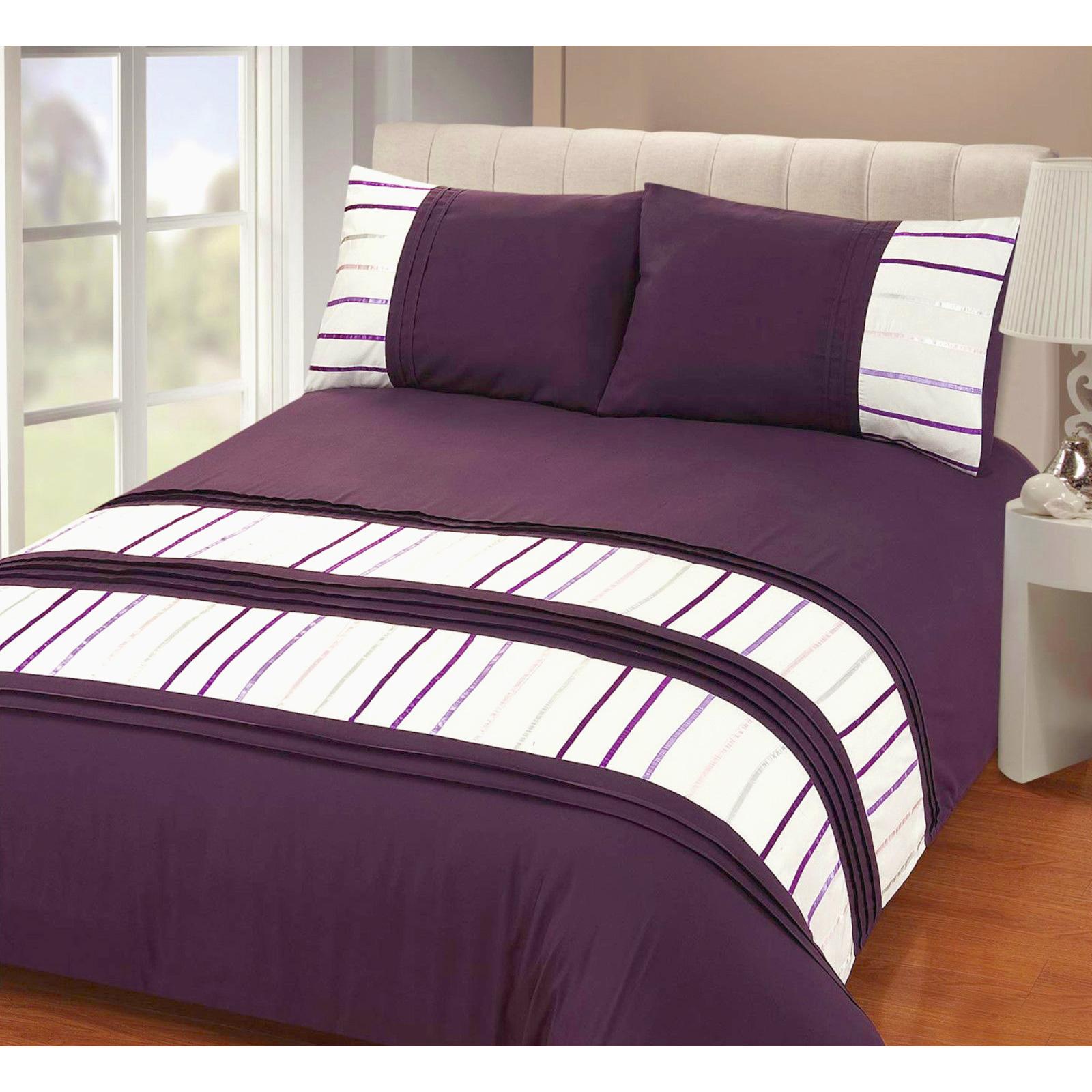 embellished ribbon stripe duvet quilt cover pleated bedding set pillow case ebay. Black Bedroom Furniture Sets. Home Design Ideas