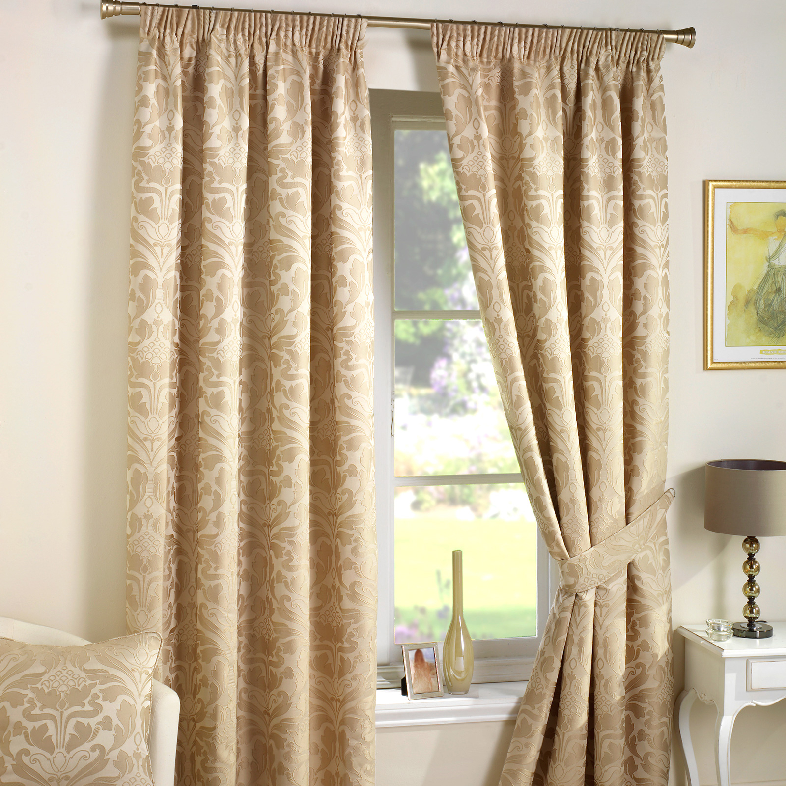 Luxury jacquard curtains heavy weight fully lined pencil for Pictures of curtains