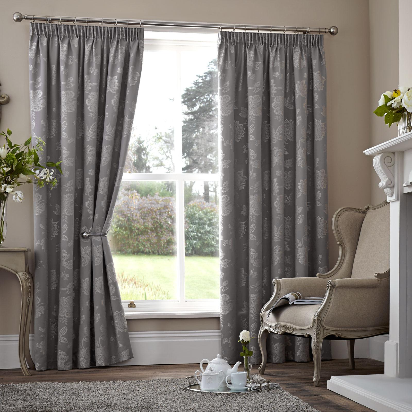 Floral Jacquard Thermal Curtains Pair