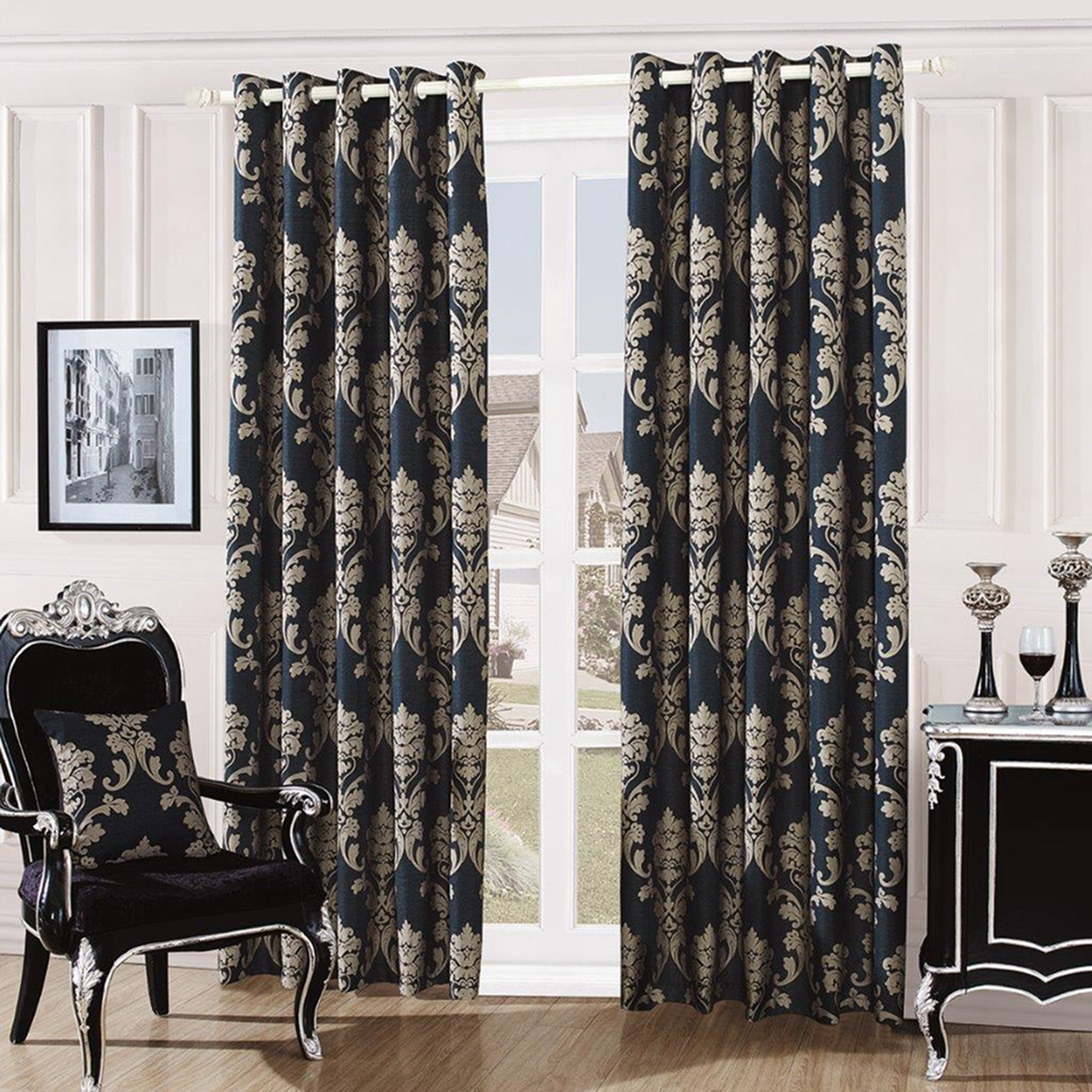 Damask curtains living room - Fully Lined Quality Jacquard Damask Curtains Ready Made