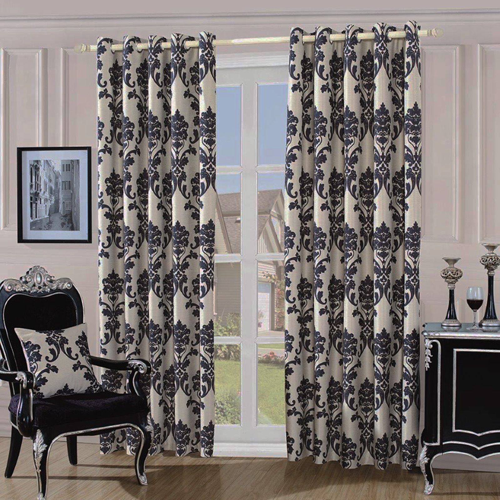 Fully Lined Quality Jacquard Damask Curtains - Ready Made With ...