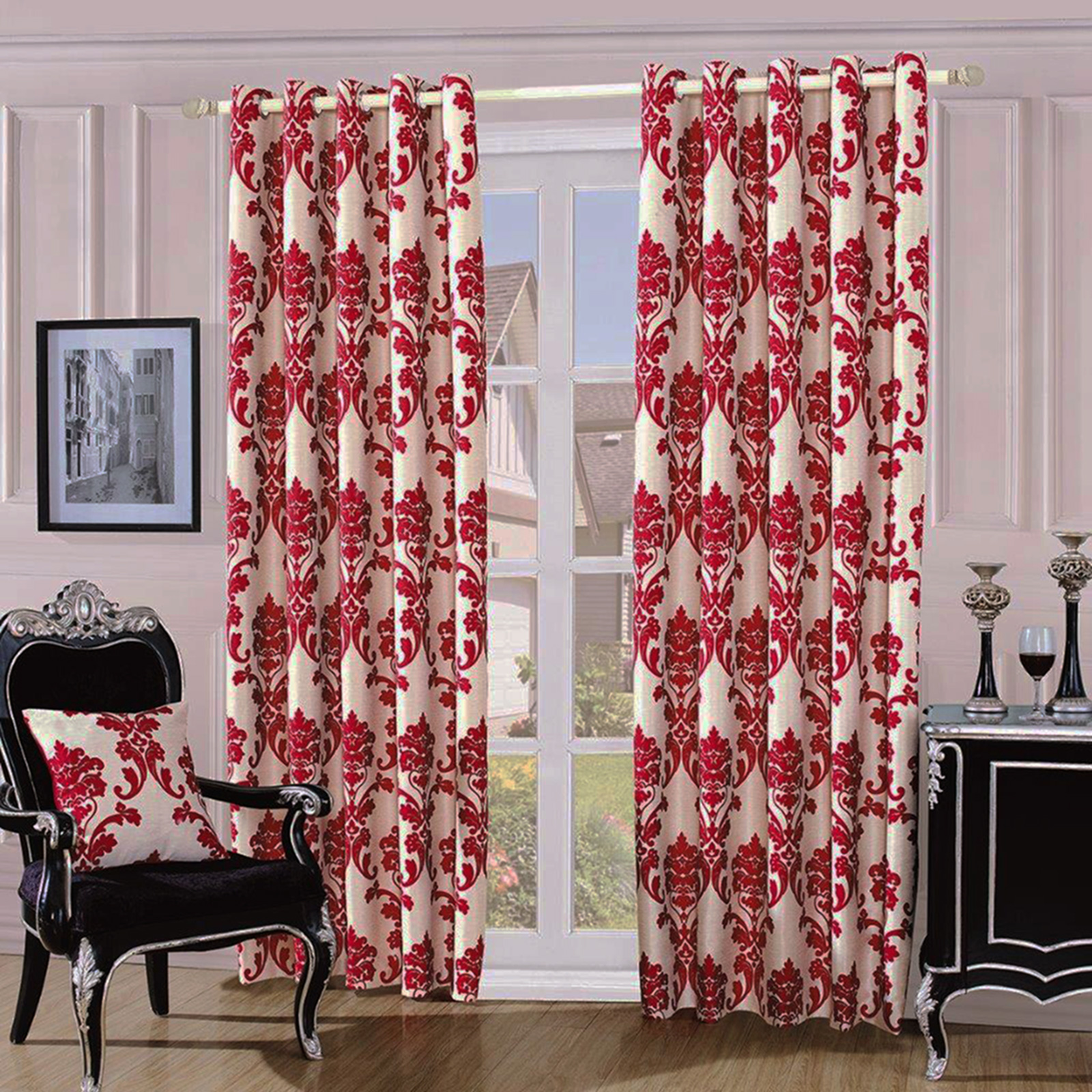 Fully Lined Quality Jacquard Damask Curtains Ready Made With - Ready made curtains red