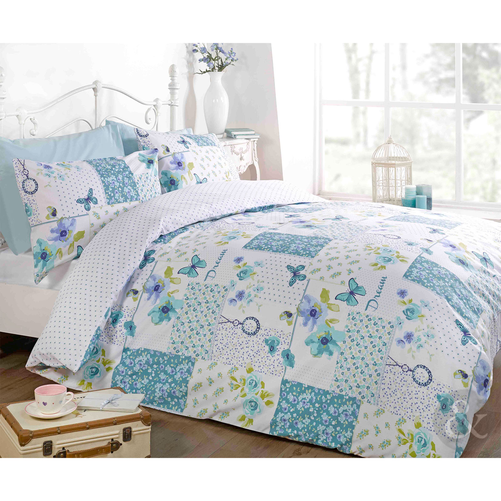 Floral Patchwork Shabby Chic Duvet Cover Butterfly