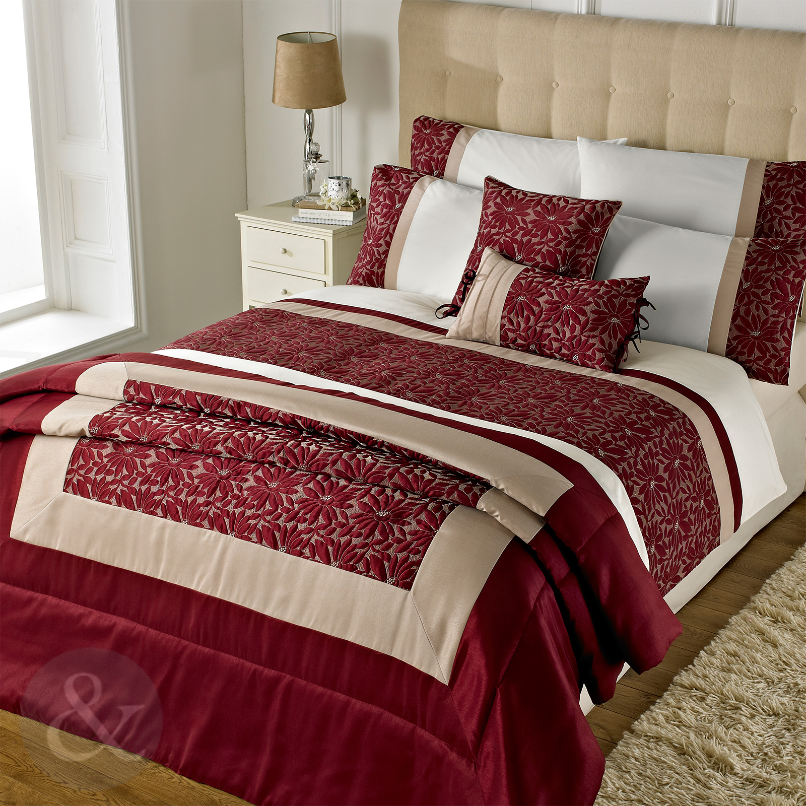 Gold Embroidered Floral Duvet Cover