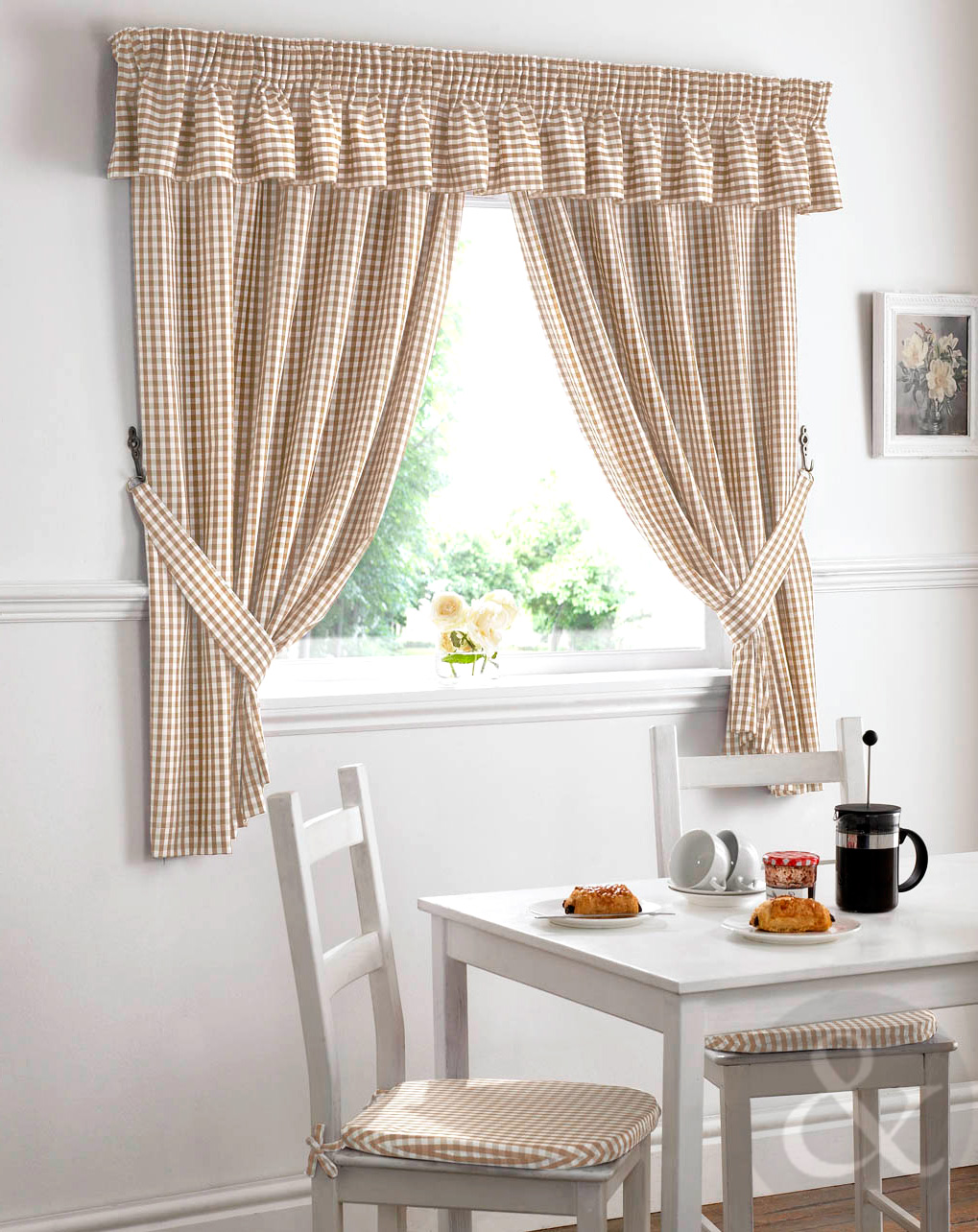 Gingham Check Kitchen Curtains Ready Made Pencil Pleat Net