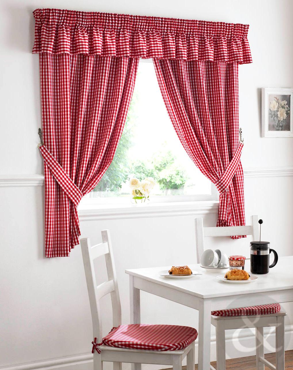 Gingham check kitchen curtains ready made pencil pleat net for Cortinas cocina confeccionadas