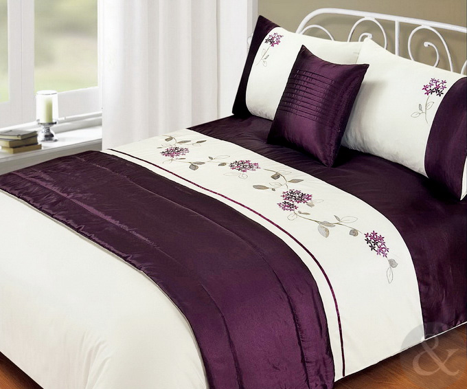 Embroidered Duvet Cover Faux Satin Silk