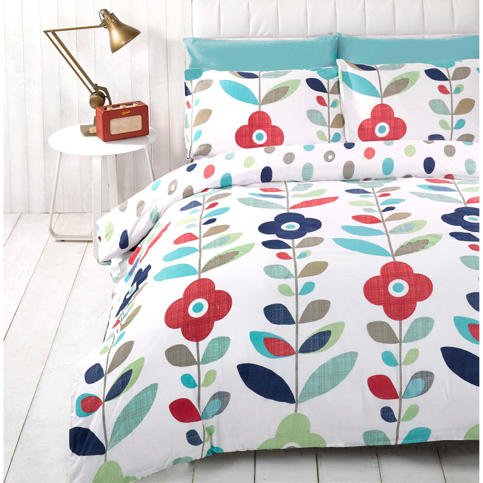 Retro Floral Duvet Cover - Reversible Bedding Cotton Rich ...