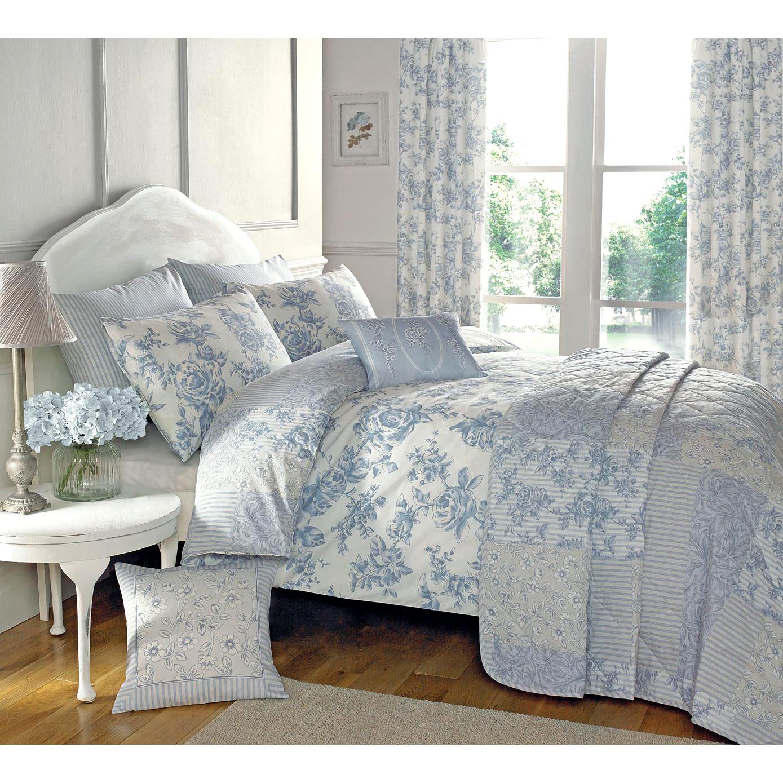 fran ais pays toile housse de couette avec des fleurs r versible patchwork rayures ebay. Black Bedroom Furniture Sets. Home Design Ideas