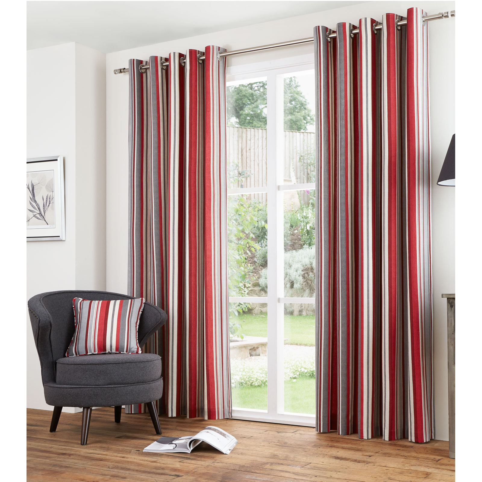 vertical stripe cotton lined eyelet curtains ready made with ring top heading ebay. Black Bedroom Furniture Sets. Home Design Ideas