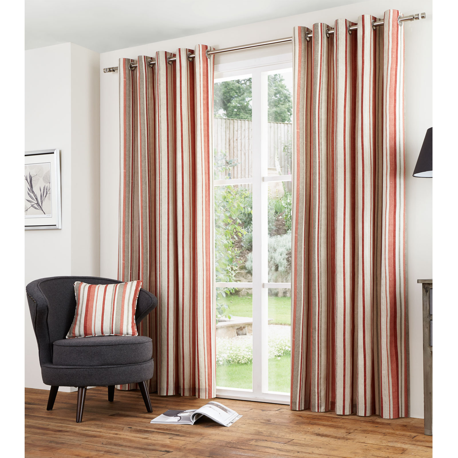vertical stripe cotton lined eyelet curtains ready made. Black Bedroom Furniture Sets. Home Design Ideas