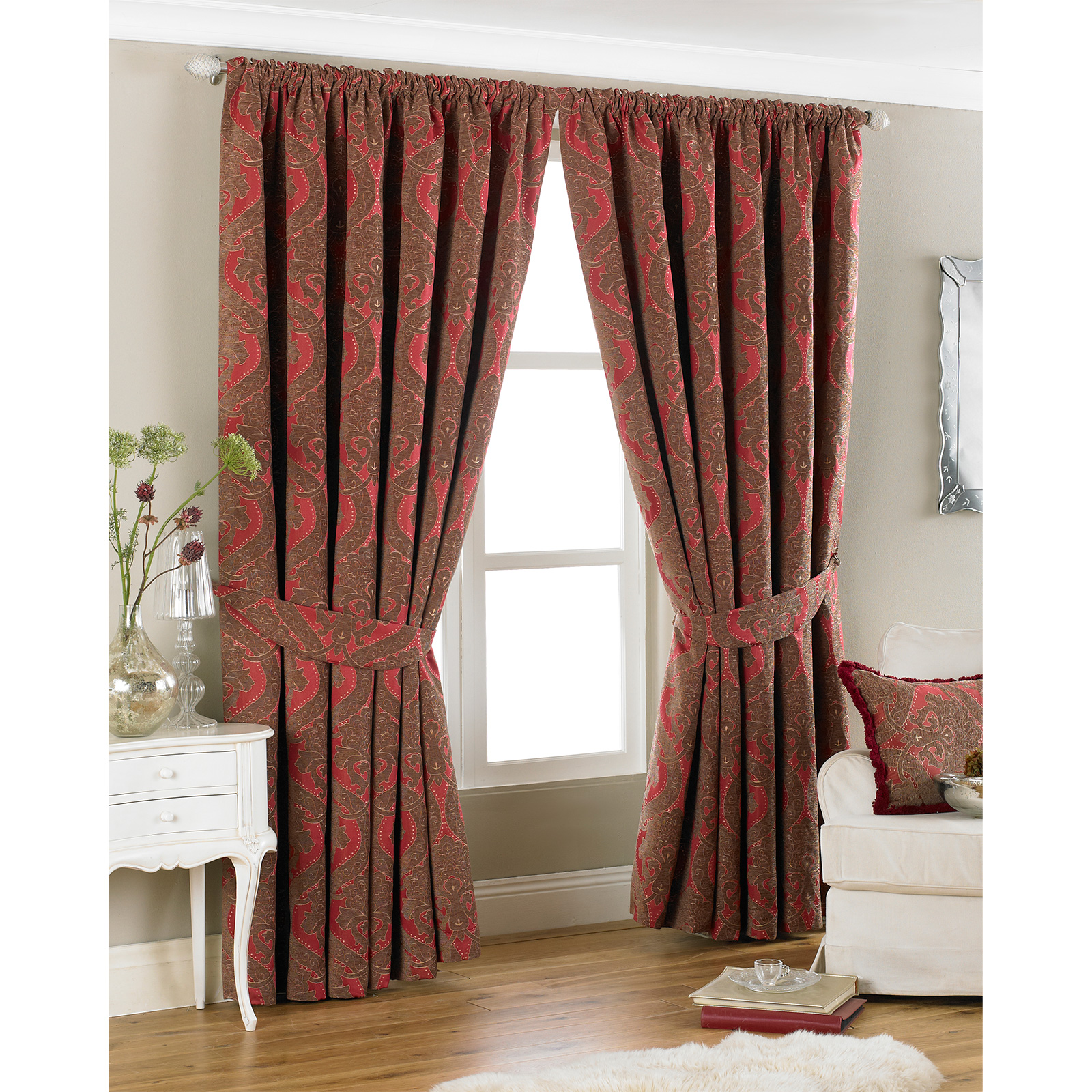 new luxury damask curtains ready made pencil pleat. Black Bedroom Furniture Sets. Home Design Ideas