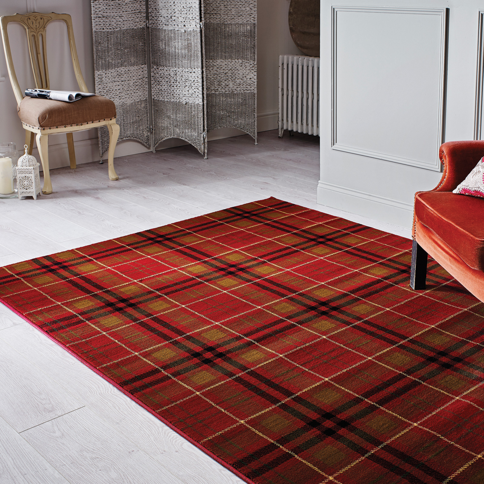 Highland Tartan Check Pattern Carpet Rug Low Pile