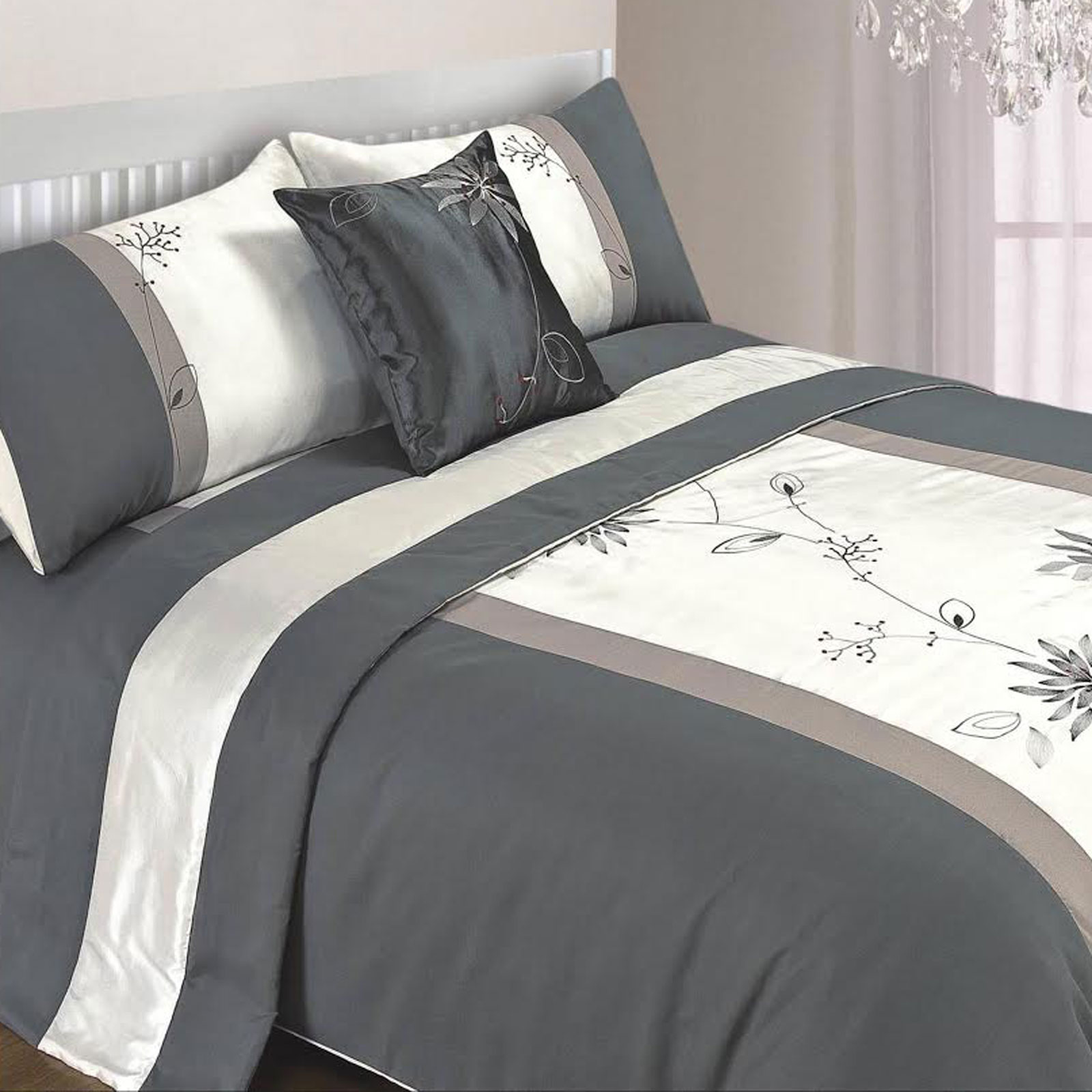 5Pc Bed In A Bag Embroidered Duvet Cover Faux Satin Silk
