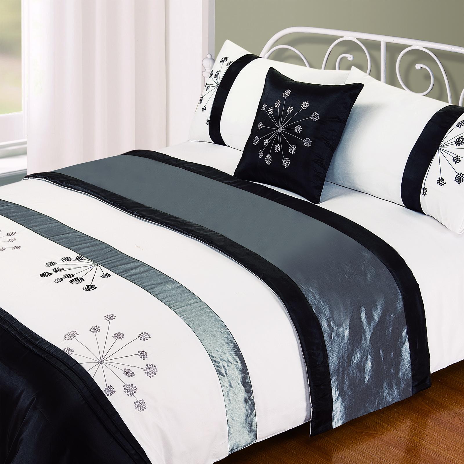 5 piezas juego de edred n bordado funda faux satin seda completo ropa cama ebay - Edredon de seda ...