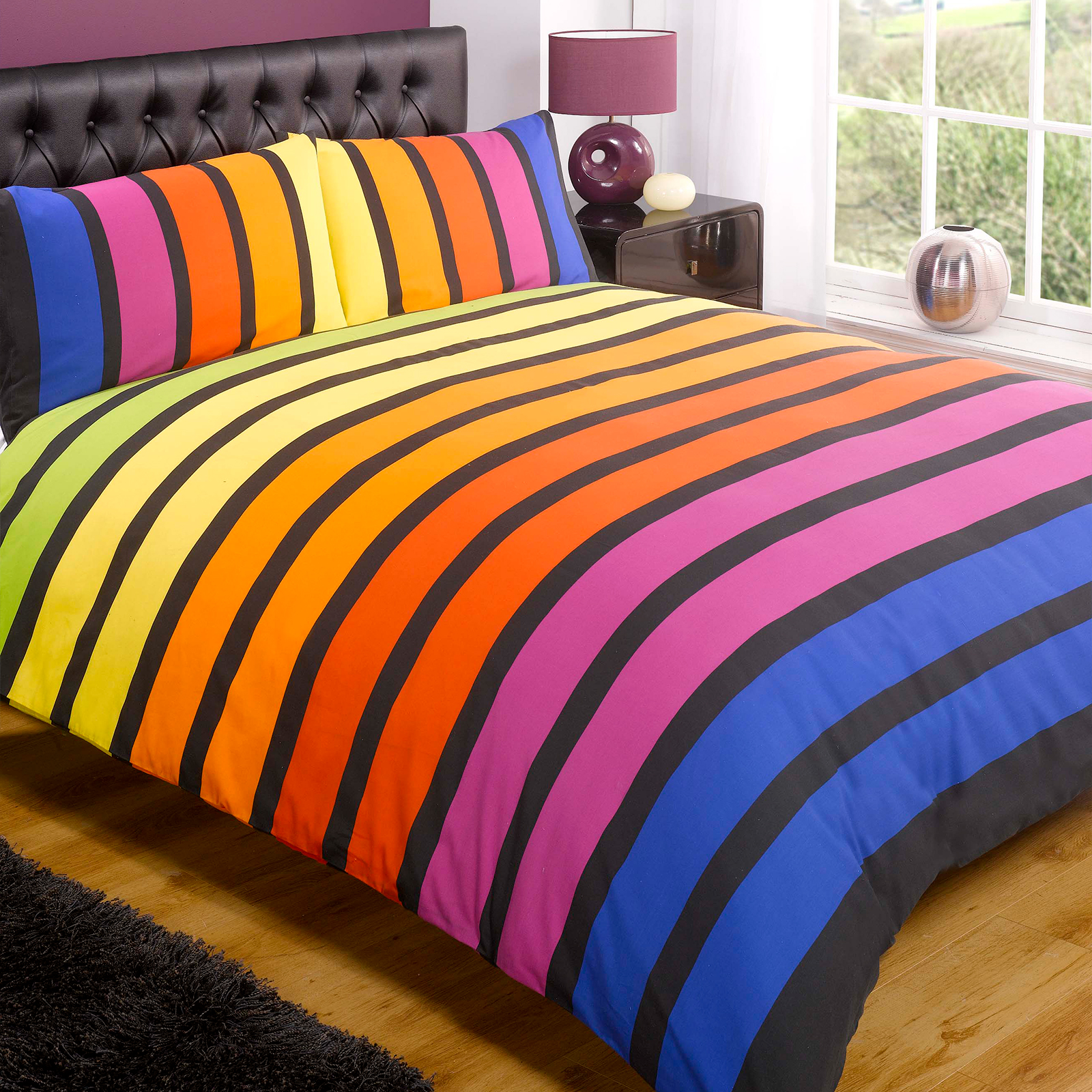 Striped Poly Cotton Duvet Cover Modern Quilt Cover Bedding