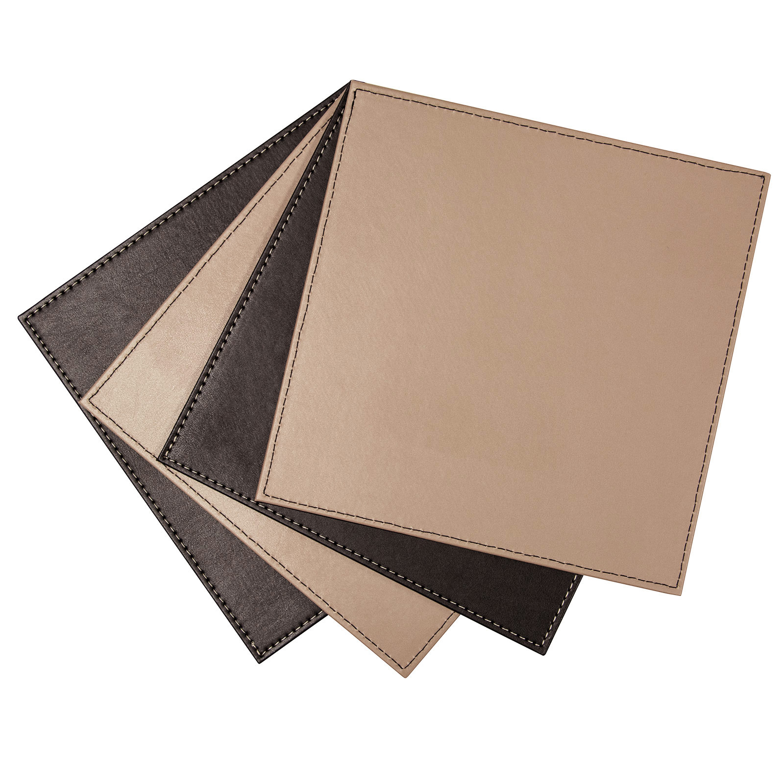reversible square faux leather table place mats set of 4 great quality ebay. Black Bedroom Furniture Sets. Home Design Ideas