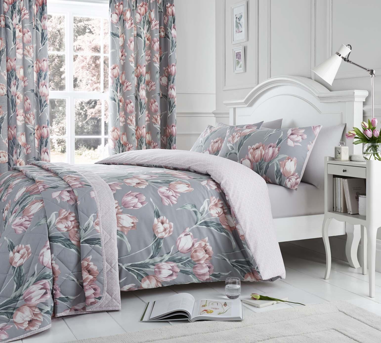 traditionnel-TULIPE-impression-florale-Housse-de-couette-et-taie-d-039-oreiller-Set