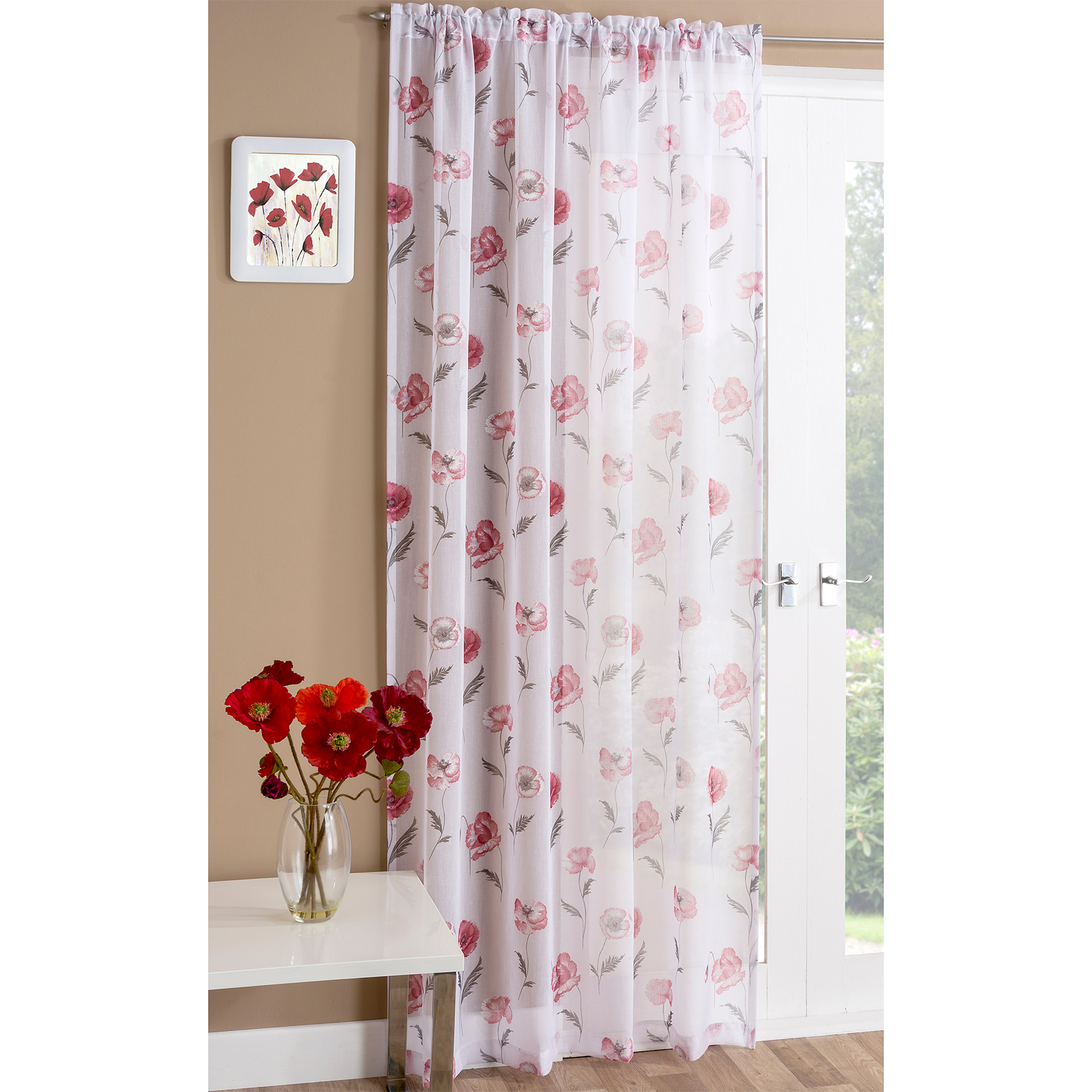 e Voile Curtain Panel with Meadow Poppy Print – Slot Top Heading