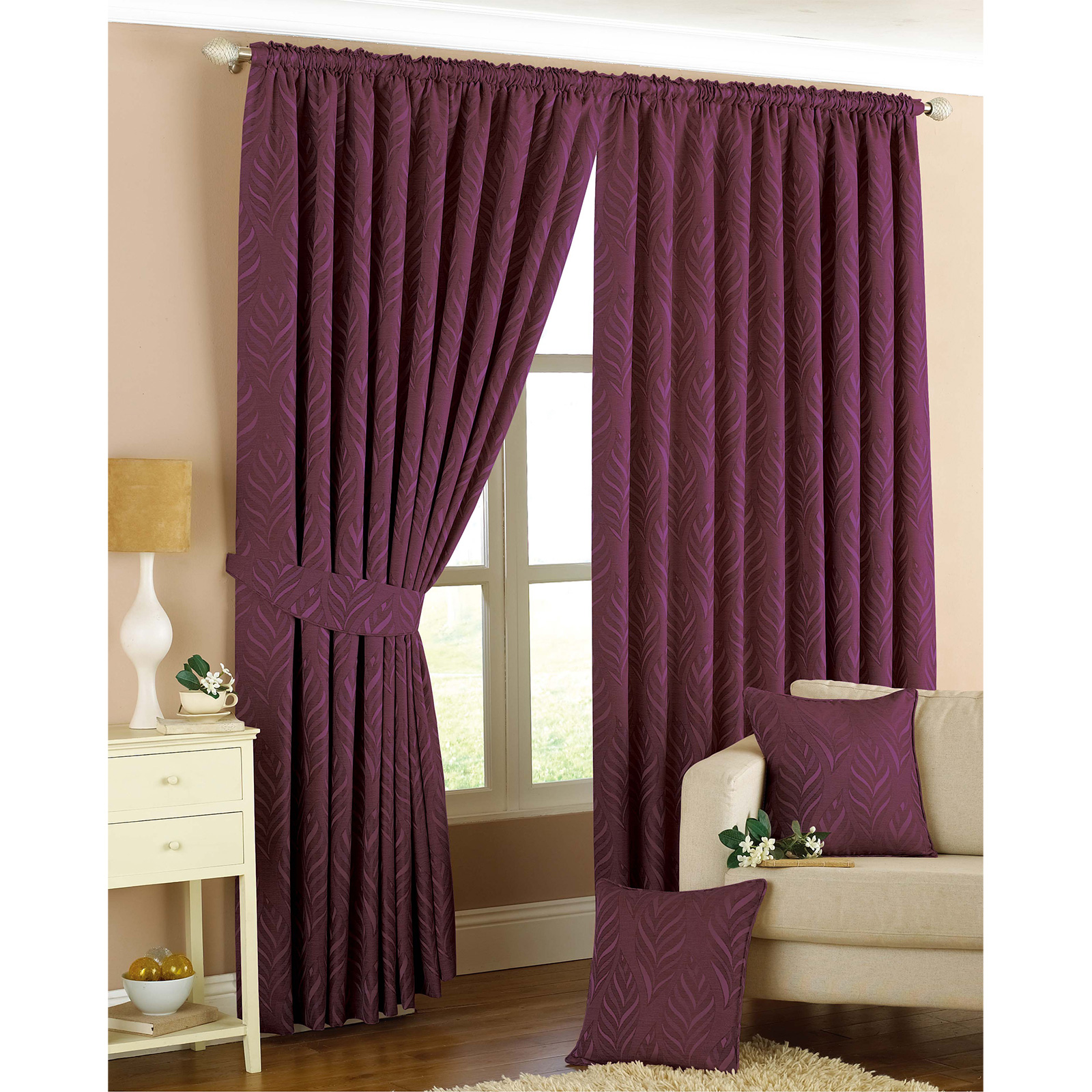 Woven Lined Pencil Pleat Curtain