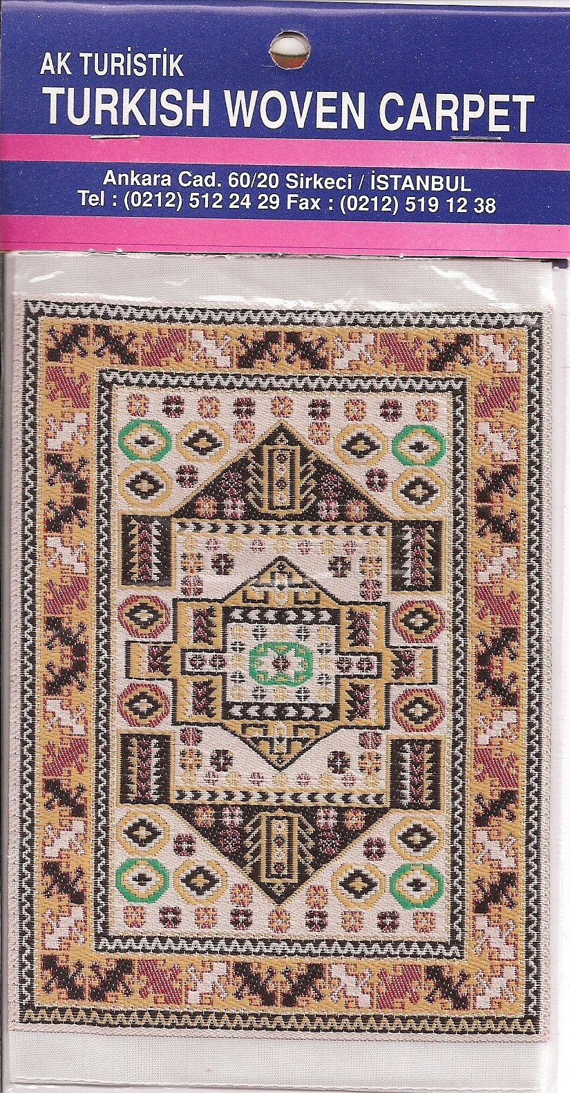 Imported Turkish Woven Miniature Carpet Blue Red Ivory