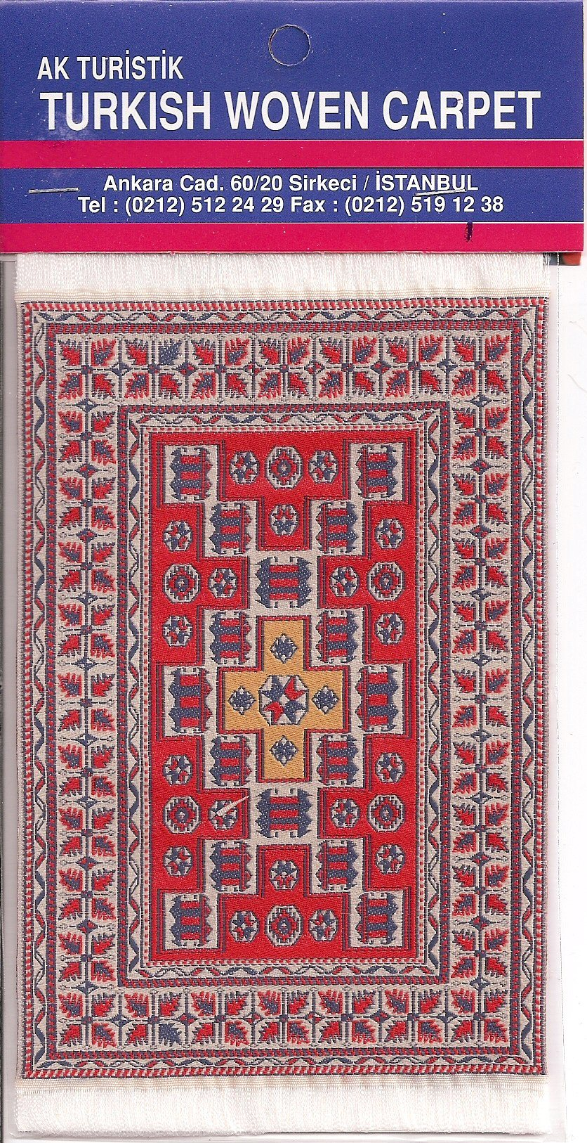 Miniature Turkish Woven Carpet Pipe Felt Blue Red Ivory
