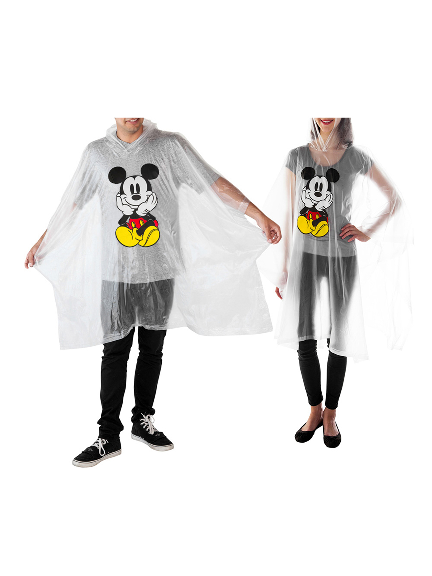Adult-Kids-Unisex-Mickey-Mouse-Rain-Ponchos-4-PACK-Front-Back-CHOOSE thumbnail 3