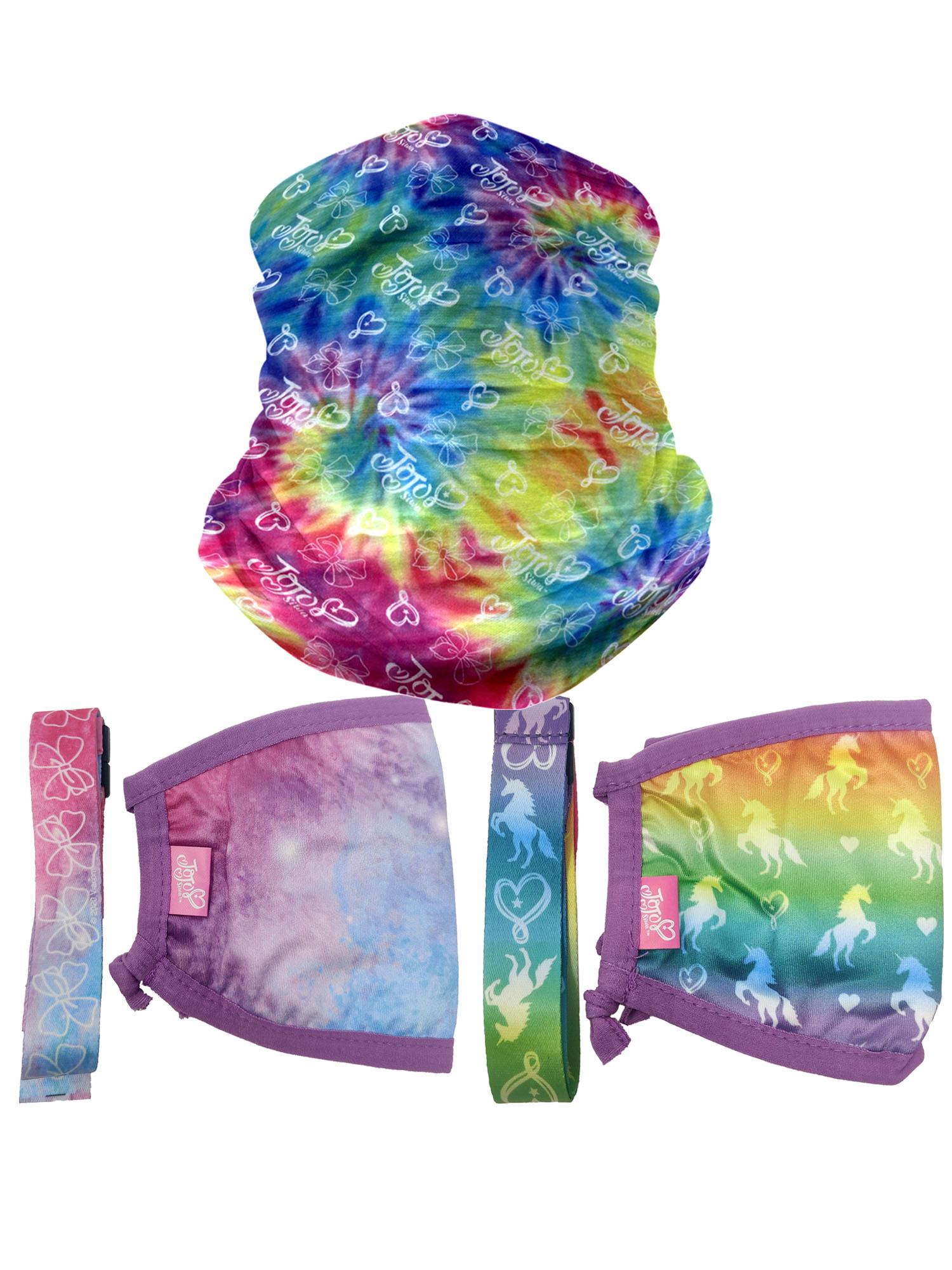 JoJo Siwa Tie-Dye Neck Gaiter /& Face Mask Strap w// Toothbrush Cap Rinsing Cup