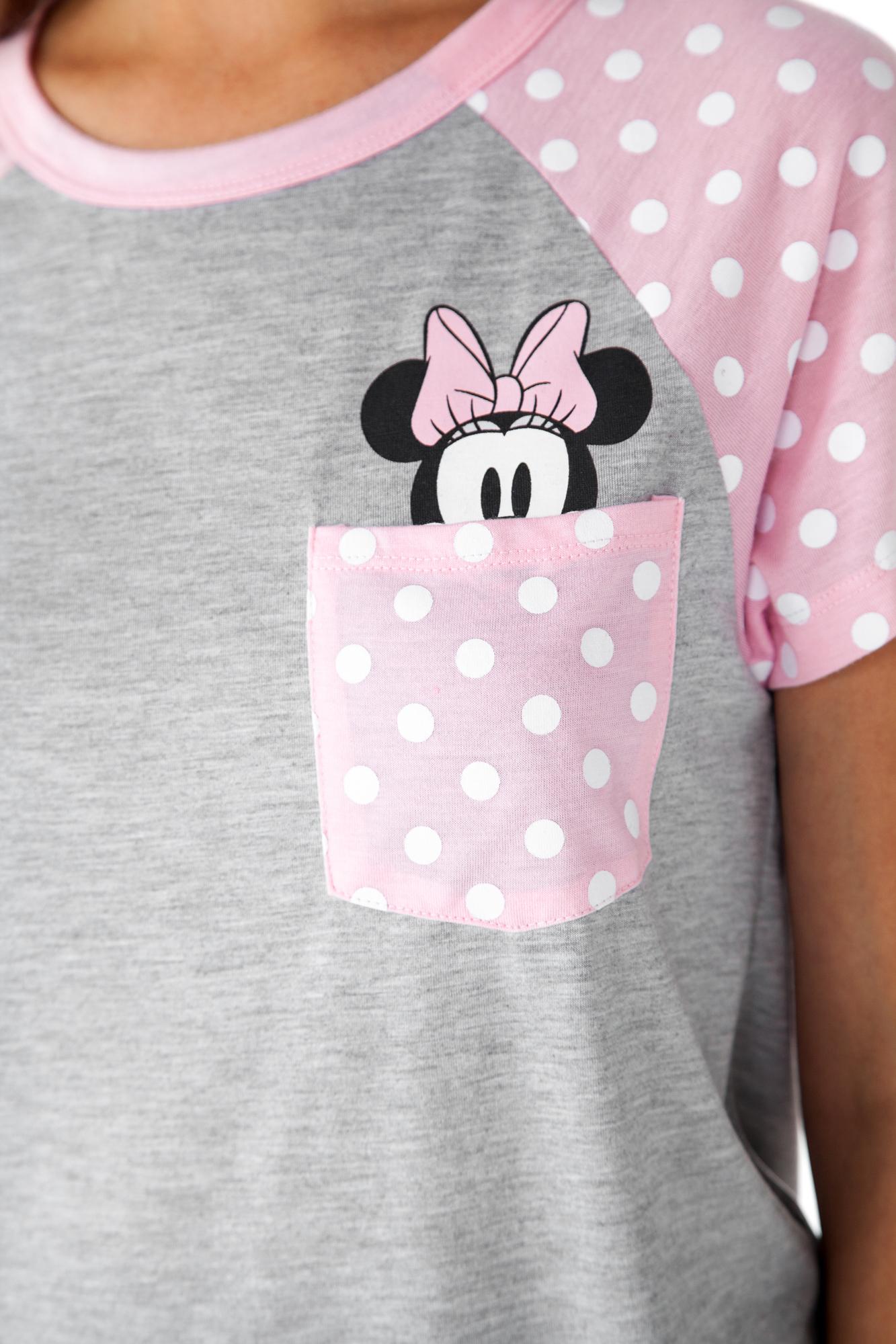 905512953 Juniors Minnie Mouse Peeking Pocket T-Shirt Polka-Dots Pink   eBay