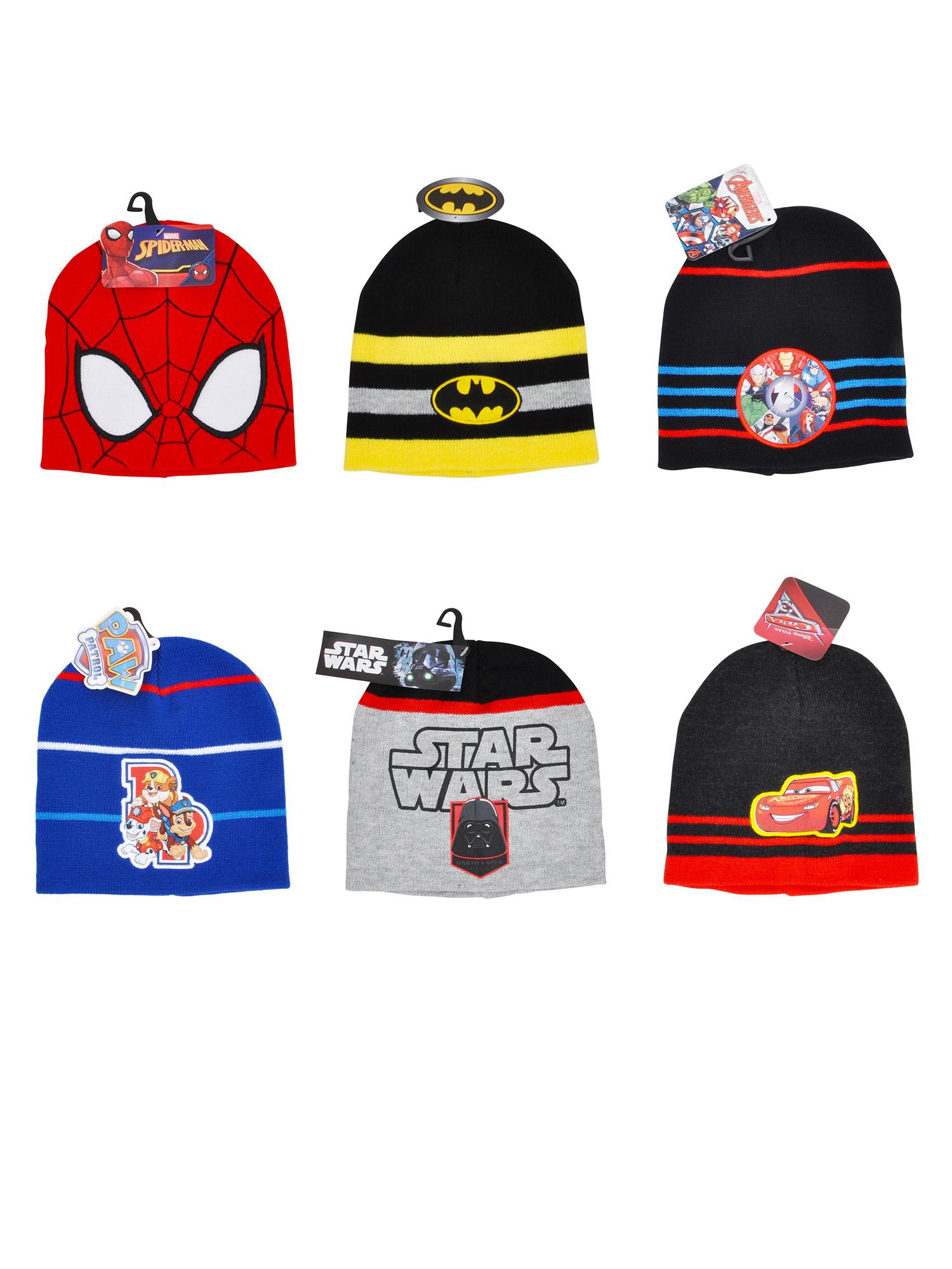 Boys Knit Cuffed Beanie Hat Choose Spider-Man Avengers Paw Patrol ... 54f005266ea