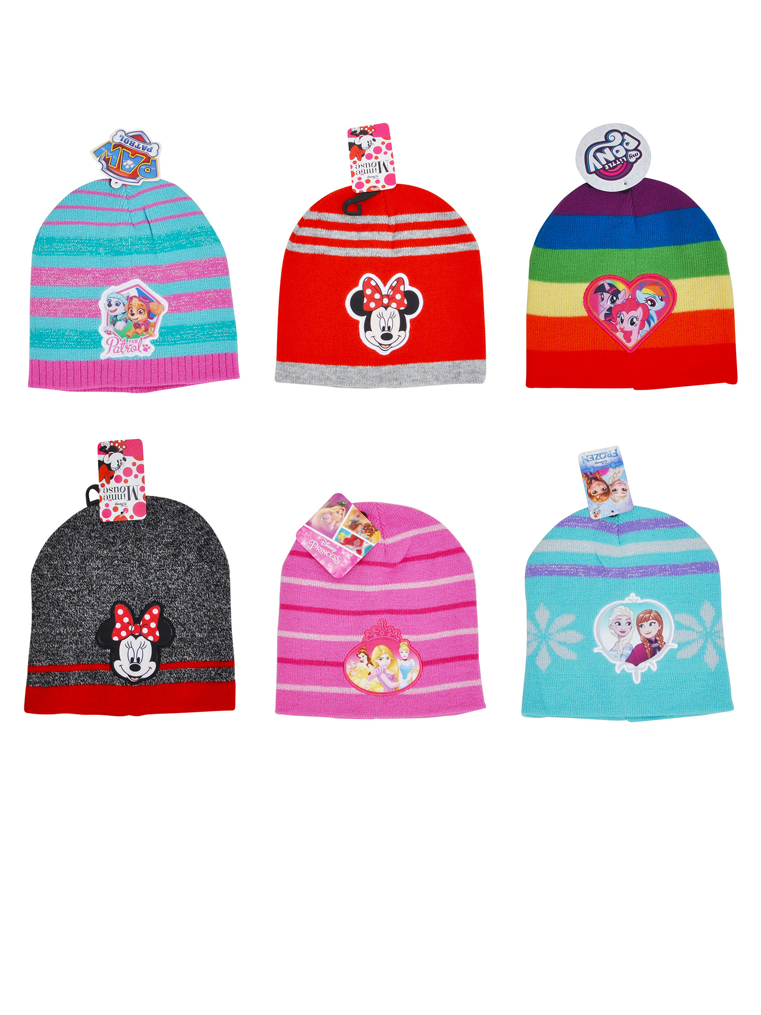 Girls-Knit-Cuffed-Beanie-Hat-Choose-Frozen-Minnie-Paw-Patrol-My-Little-Pony thumbnail 15