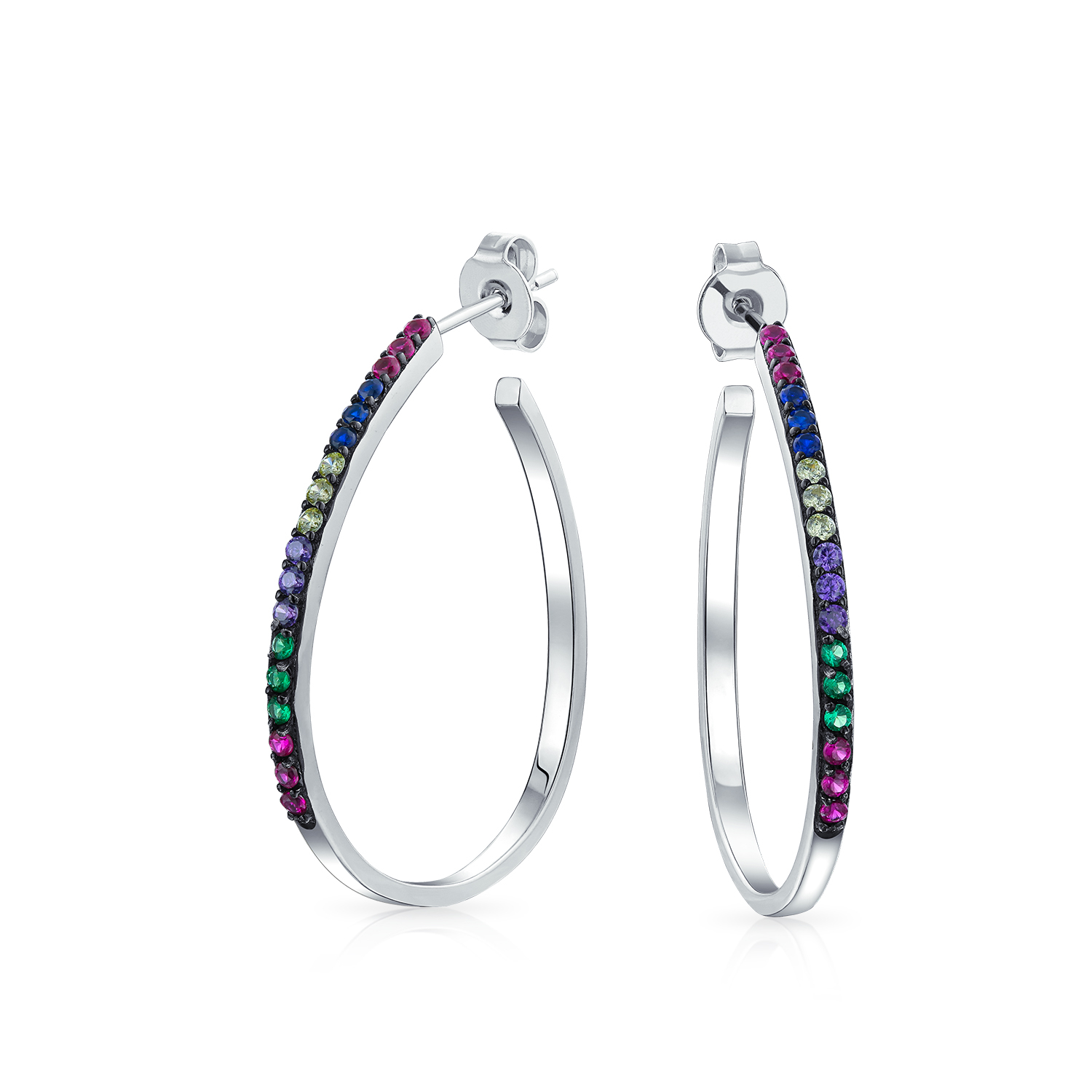 Dangling Earrings Oval Round Cubic Zirconia 925 Sterling Silver Choose Color