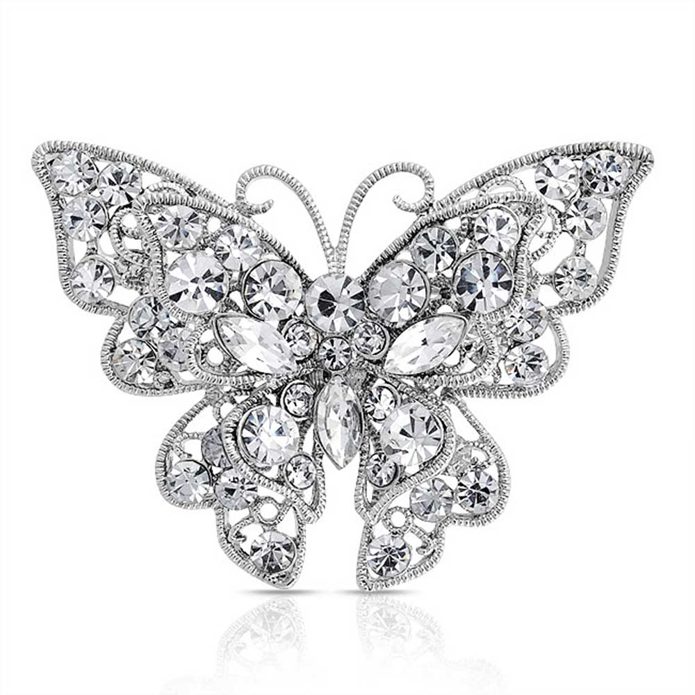 VINTAGE INSPIRED LARGE RHODIUM SILVER PLATED STATEMENT PURPLE BUTTERFLY BROOCH