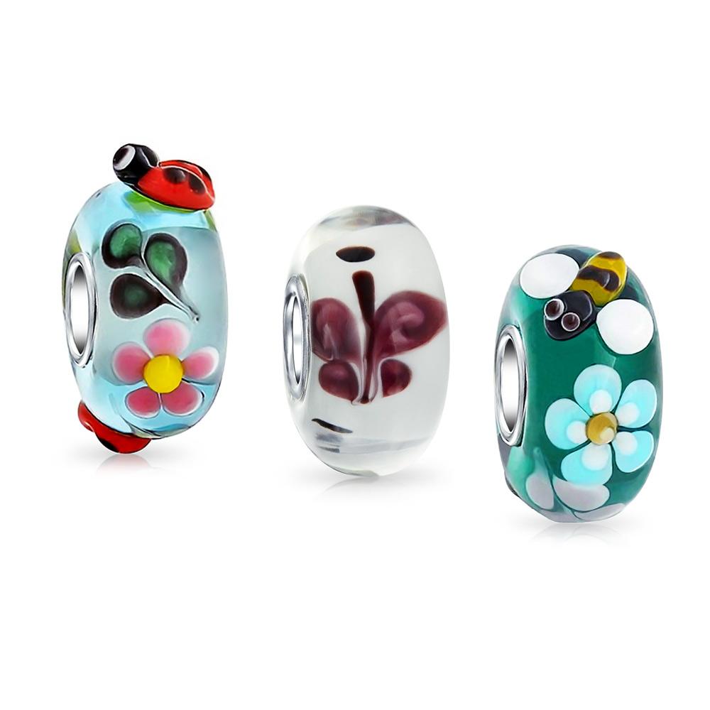 Bling Jewelry Silver Ladybug Flower Blue Murano Glass Bead Charm