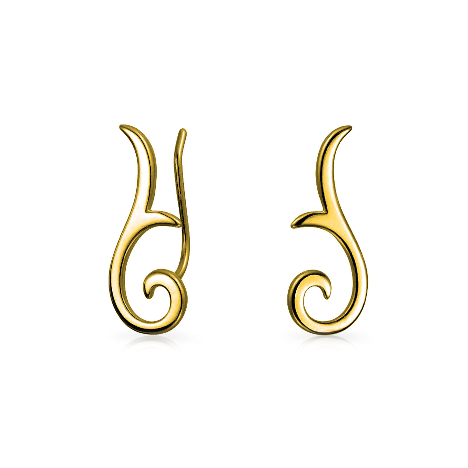 ad2f87785b678 Details about Geometric Ear Pin Crawlers Climbers Earrings 14k Gold Plated  Sterling Silver