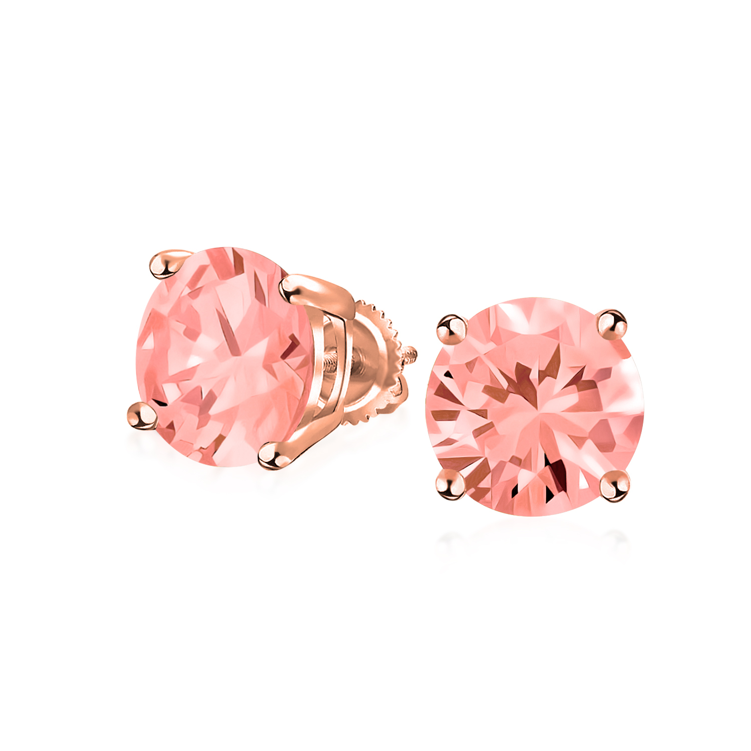Solitaire Stud Post Earring Round Rose Pink CZ Rose Tone Plated 925 Sterling Silver