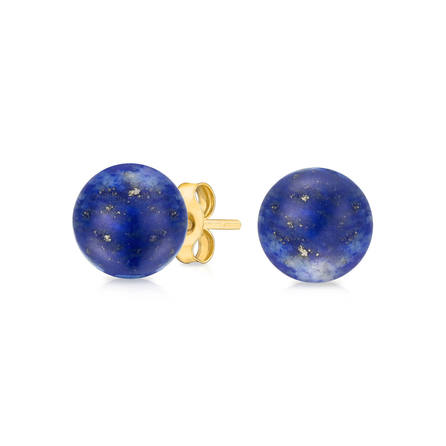NEW 14K Yellow Gold Natural Lapis 8mm Ball Stud Earrings