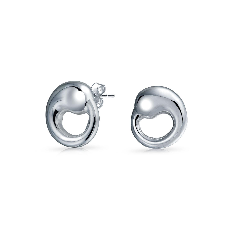 Minimalist Geometric Open Eternal Circle Stud Earrings Shiny Sterling Silver