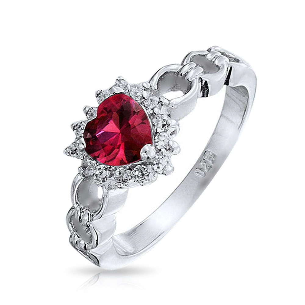 2 Ct Created Ruby Pear Shape Ring .925 Sterling Silver