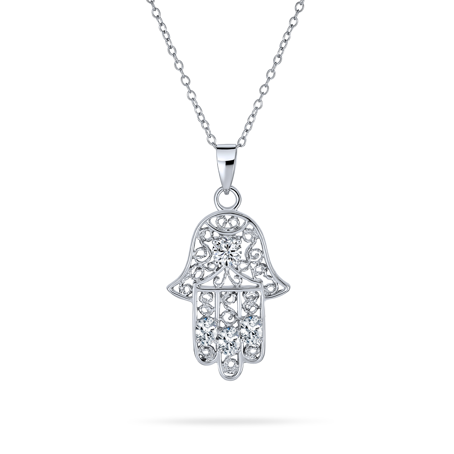 925 Solid Sterling Silver Filigree Evil Eye Hamsa Pendant  Charm with 18 inch Cable Necklace Jewelry