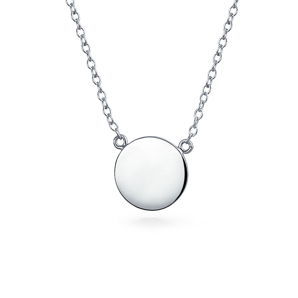 0a206a8fccaee Details about Minimalist Round Circle Disc Geometric Station Pendant  Necklace Sterling Silver